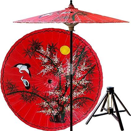 Beau Asian Splendor 7 Foot Patio Umbrella With Base   Dragon Red