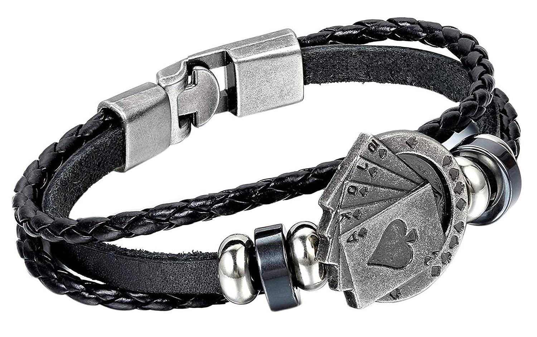 AIUIN Retro Armband Logo Spielkarten Geflochtenes Lederarmband für Männer Dekoratives Armband