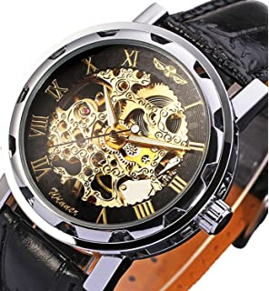 Mens Mechanical Elegant Skeleton Hollow Dial Wrist Watch