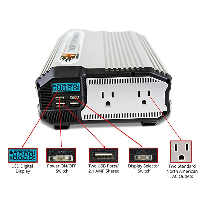 Amazon.com: K KRIËGER HammerDown 1500 Watt 12V Power Inverter - Dual 110V AC outlets, Automotive back up power supply for refrigerators, microwaves, ...