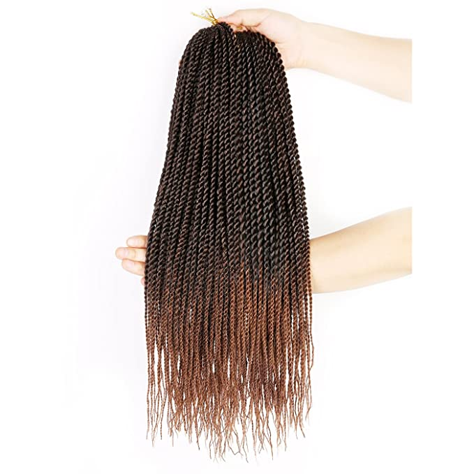 "(6 Packs)18"" Senegal Twist Crochet Braids (T1B/30) 30 Roots/Pack Small Havana Twist"