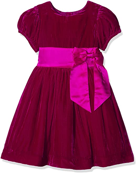 Rachel Riley Velvet Maxi Bow Dress, Vestido para Niñas, Rosa (Bright Pink PK04