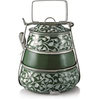 3 Tier Pyramid Green Handpainted Tiffin by Indian-Tiffin