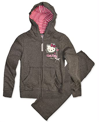 e1685954e Girls Hello Kitty Tracksuit Set Kids Hoodie Jogging Bottoms New Age 3 - 8  Years: Amazon.co.uk: Clothing
