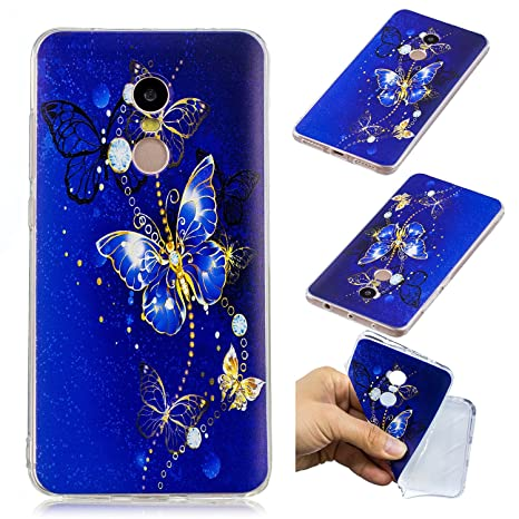 ZXLZKQ Funda para Xiaomi Redmi Note 4 Cover Mariposa Azul ...