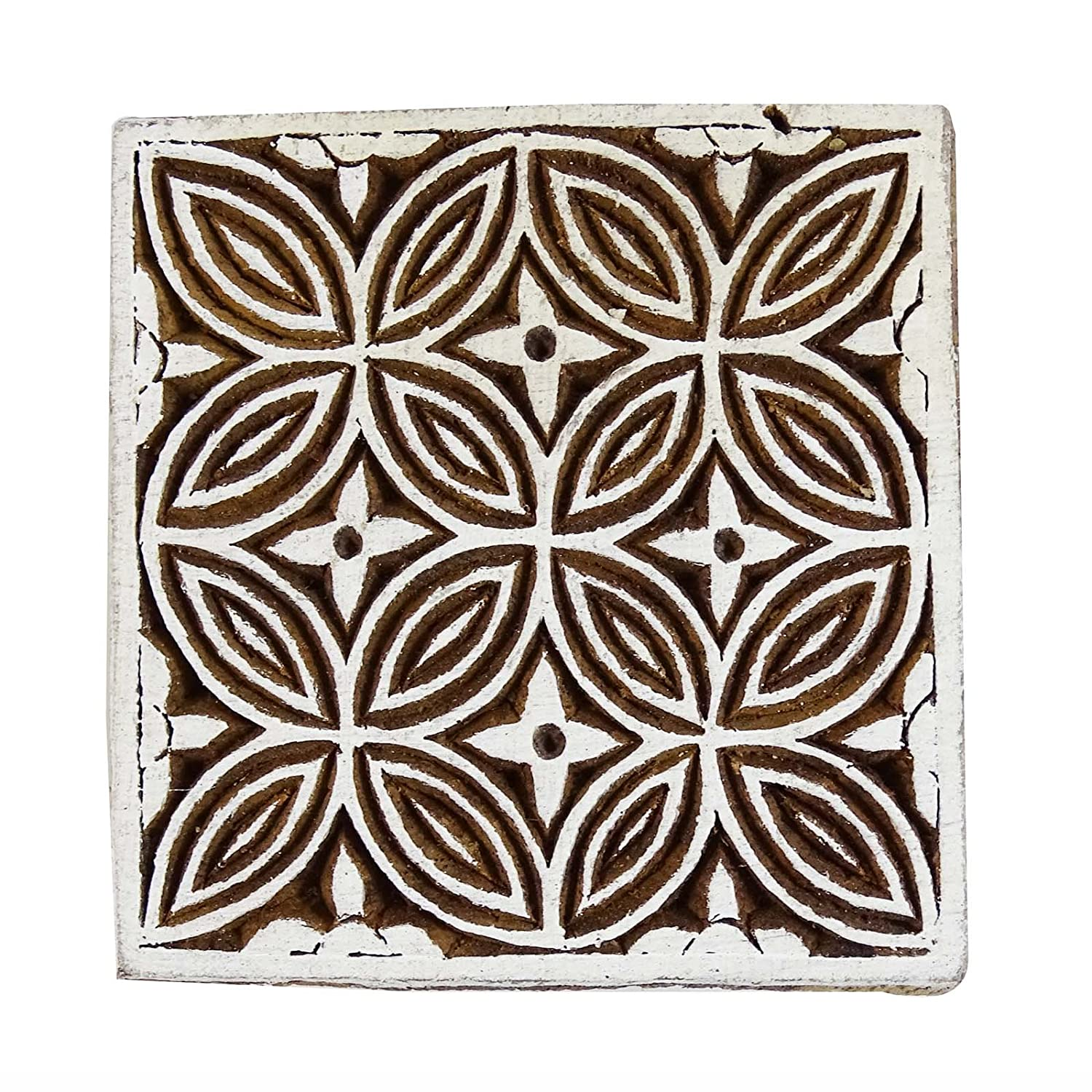 Floral Stamp Textile Stamp Indian Brown Wood Stamps Hand Craved Printing Block