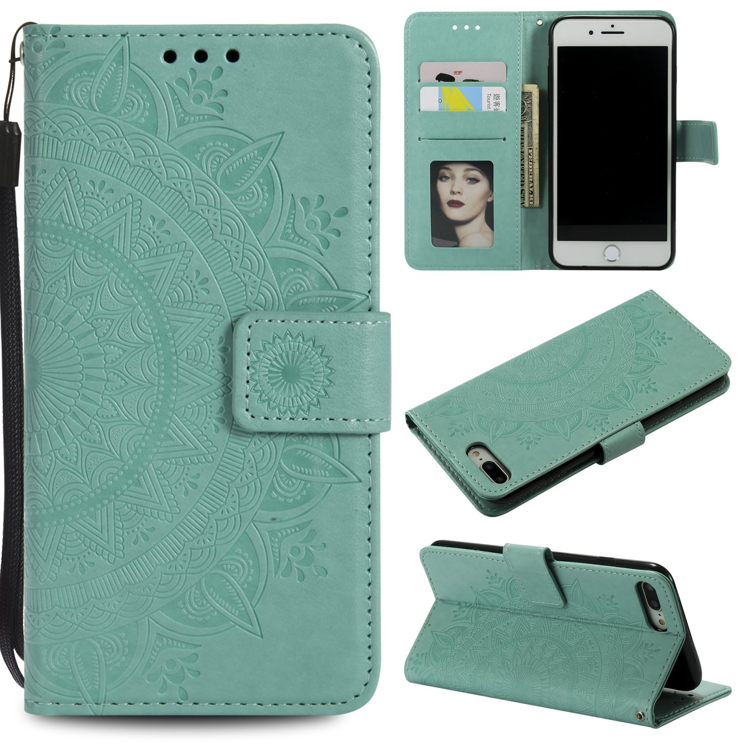 Floral Wallet Case for iPhone 7 Plus 5.5'',Strap Flip Case for iPhone 8 Plus 5.5'',Leecase Embossed Totem Flower Design Pu Leather Bookstyle Stand Flip Case for iPhone 7 Plus /8 Plus 5.5''-Green