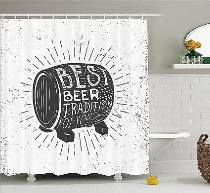 Mirryderr Man Cave Decor Shower Curtain Hand Drawn Vintage Label With Beer Barrel Burst Lines