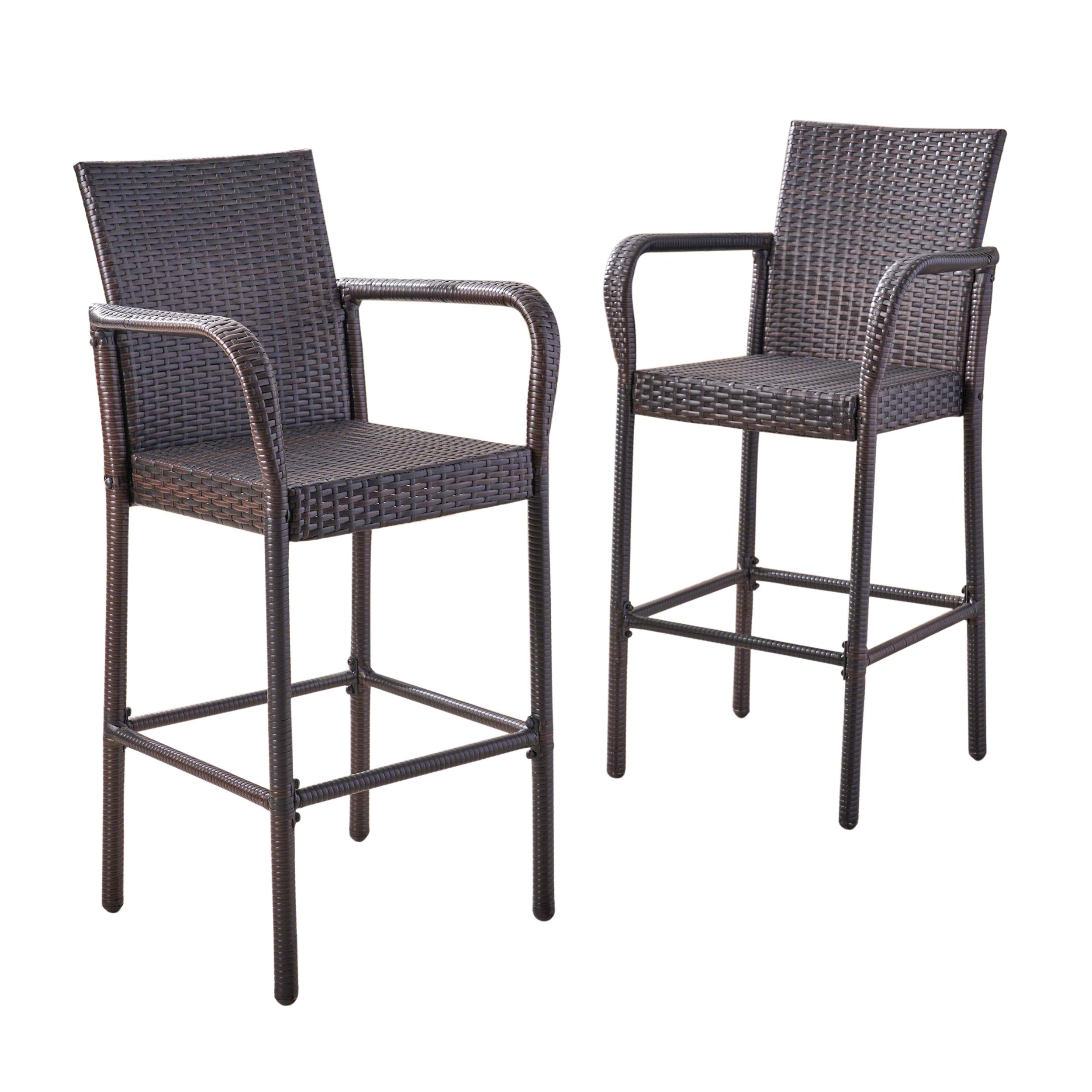 Great Deal Furniture Stewart Outdoor Bar Stool, Set of 2, Brown by Great Deal Furniture