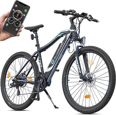 bluewheel montaña eléctrica Hombre bxb75 con aplicación Smartphone, Motor Bafang 250 W a la Trasera, batería 13 Ah, desviador Shimano 21 velocidades y Frenos de Disco, hasta 24 km/h, VAE: Amazon.es: Deportes