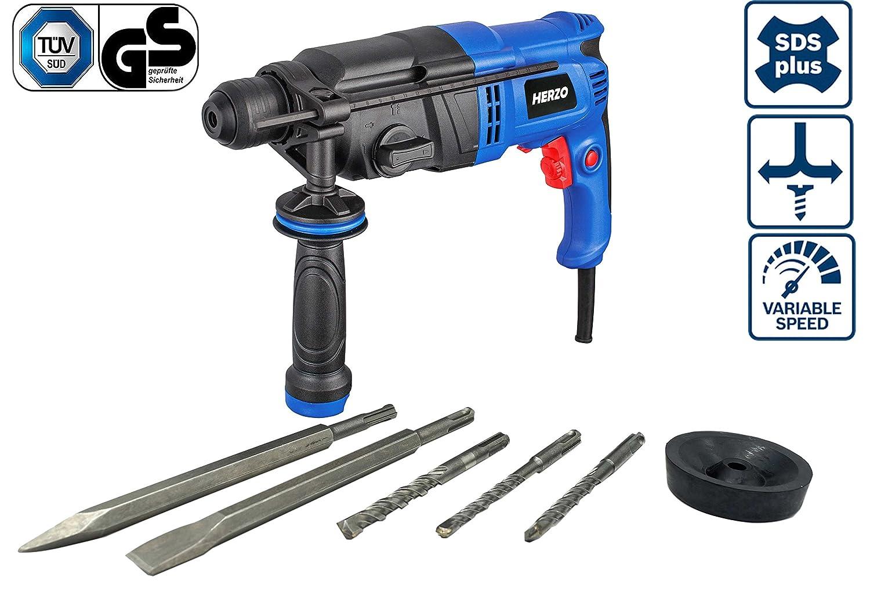 HERZO Marteau Perforateur 26mm SDS Plus 900W 3 J avec 6 accessoires, Coffret