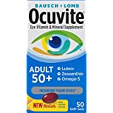Bausch + Lomb Ocuvite Adult 50+ Vitamin and Mineral Supplement with Lutein, Zeaxanthin and Omega-3, Soft Gels, 50-count