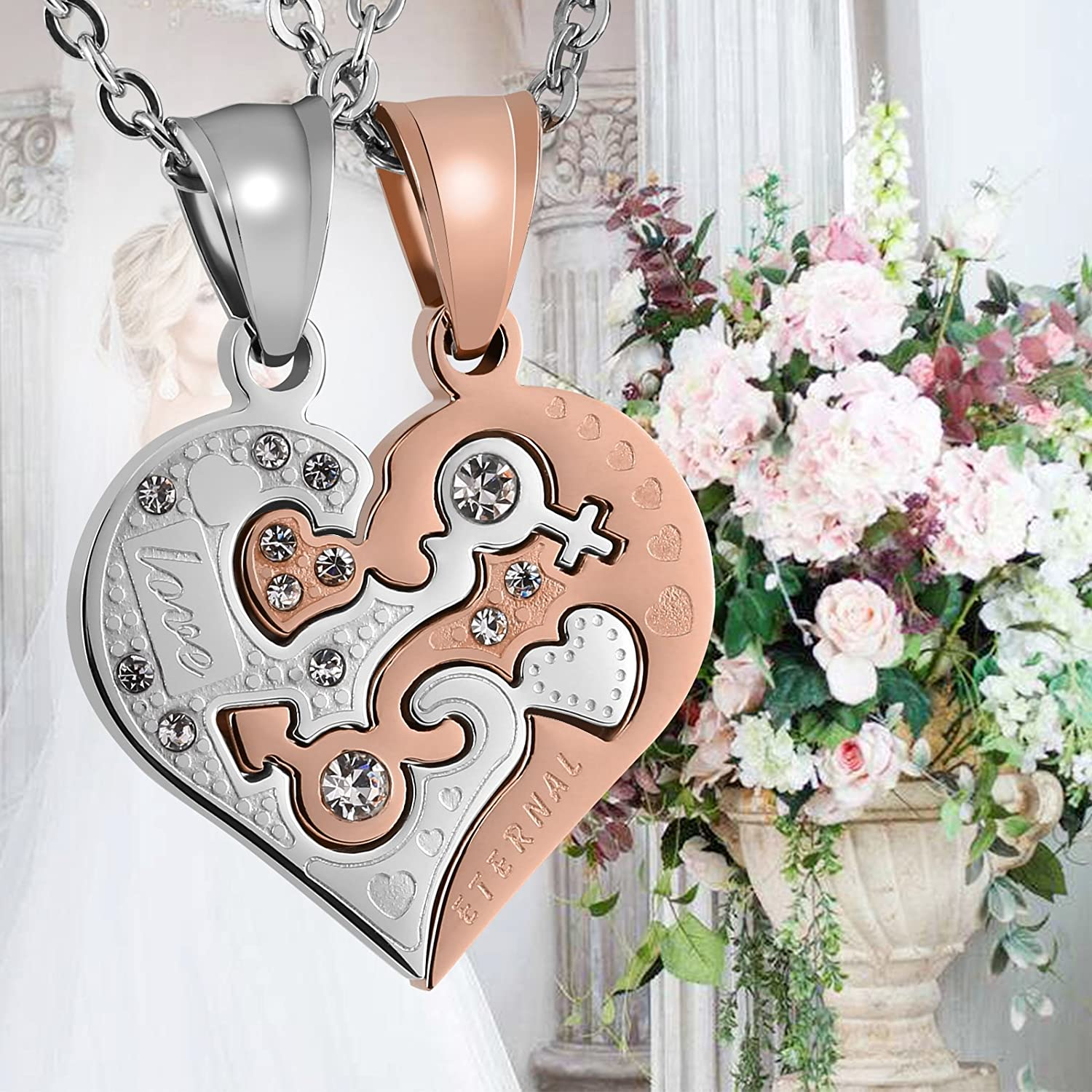Aeici His and Hers Matching Set Stainless Steel Half Heart Pendant with Cross Puzzle Necklaces