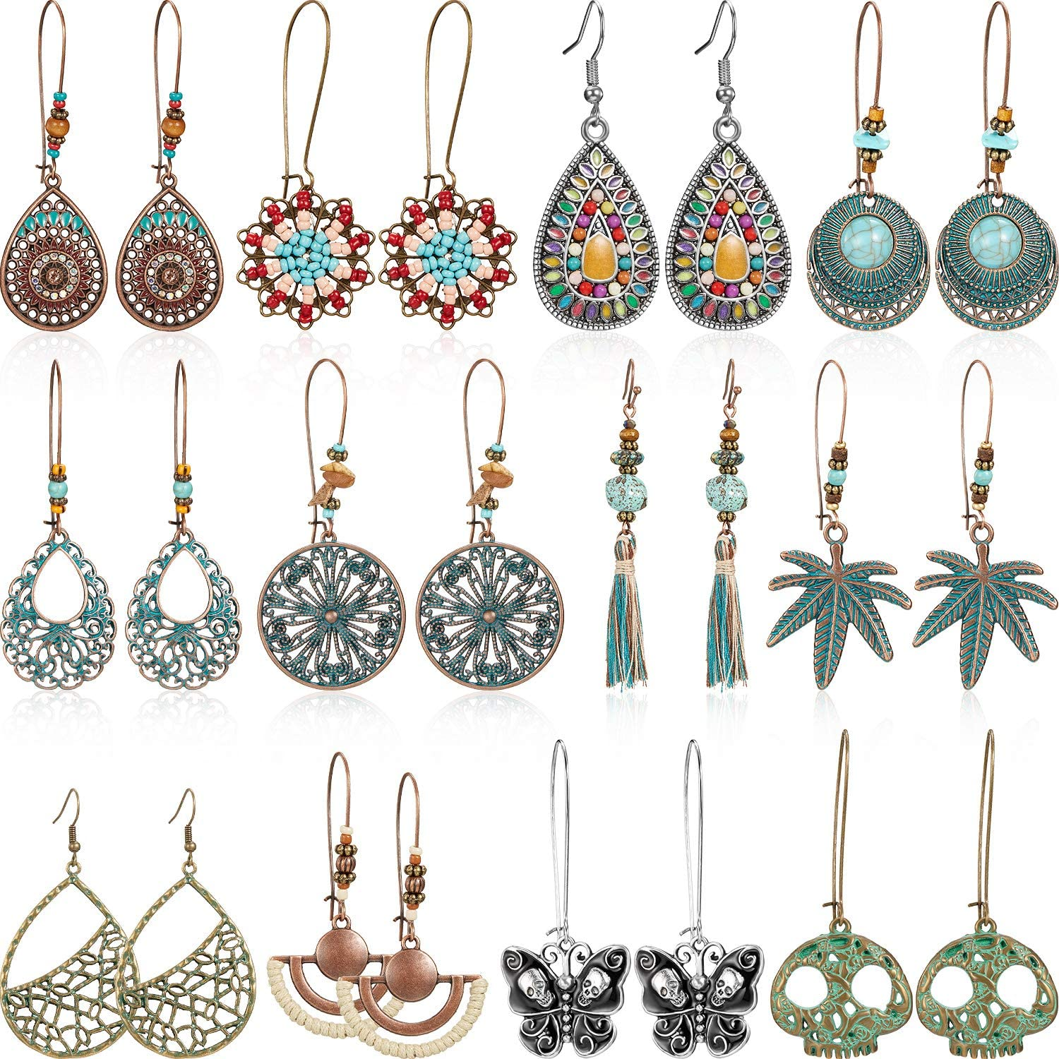 12 Pairs Bohemian Earrings Vintage Dangle Earrings Turquoise Metal Hollow Pendant Earrings Set for Women Girls (Style Set 1)