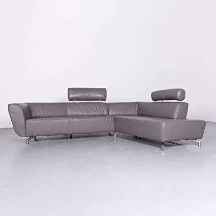 Ewald Schillig Designer Leder Sofa Grau Echtleder Ecksofa Couch #6794