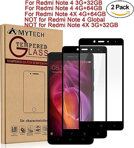 2-Pack]Xiaomi Redmi Note 4 Cristal Templado,Amytech Protector de ...