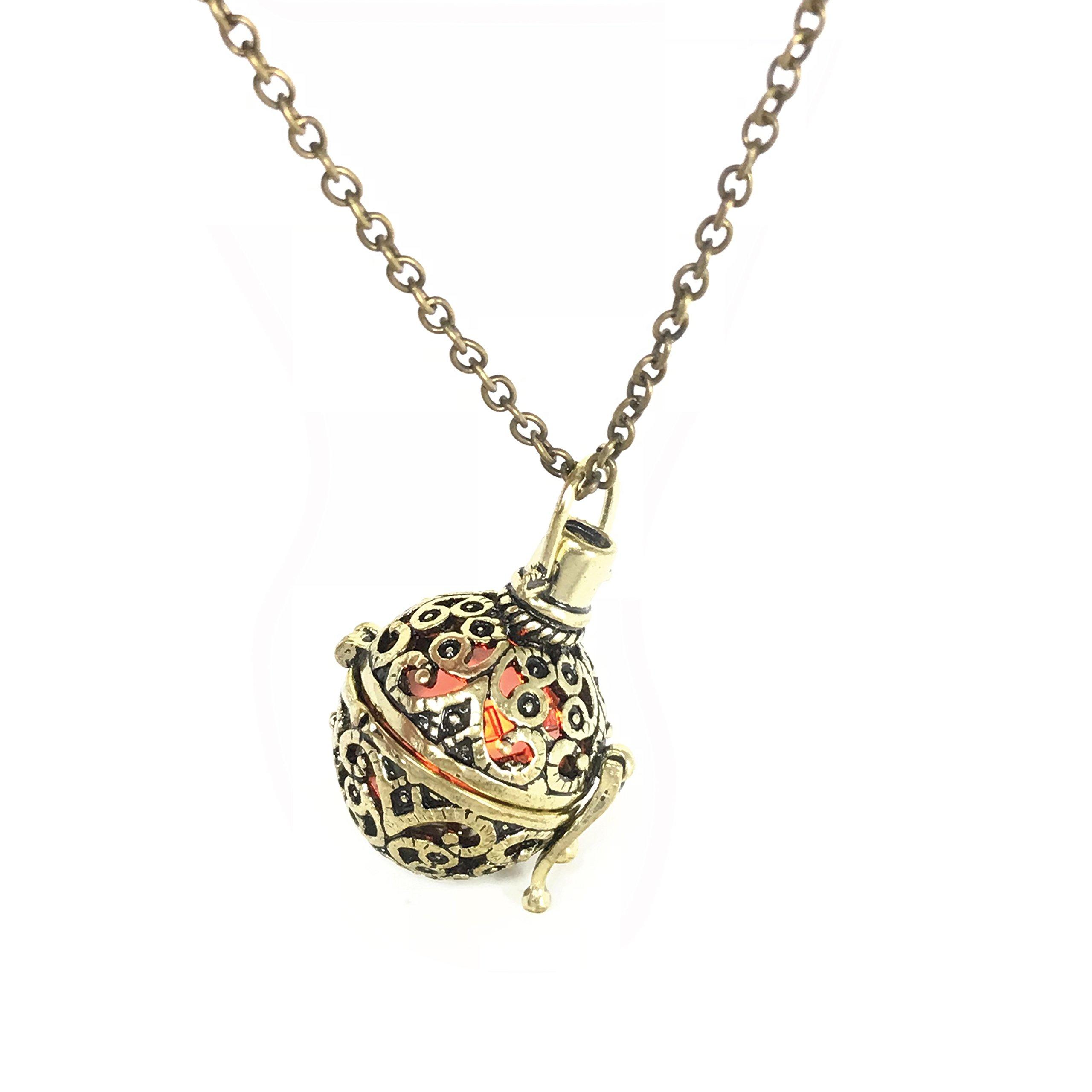 UMBRELLALABORATORY Steampunk Pendant Locket Necklace | Handmade Glow in the Dark Accessory