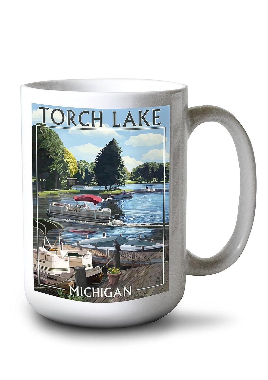 特価 トーチ湖、ミシガン州 15oz 15oz – Pontoonボート Canvas Tote Mug Bag LANT-46201-TT B077RVTTB2 15oz Mug 15oz Mug, ルージュブラン青山:c5c33496 --- catconnects-ie.access.secure-ssl-servers.org