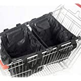Handy Sandy 3 PC Reusable Foldable Grab Grocery Shopping Tote Bag, Shopping METAL Cart Bags, Durable, Washable, Lightweight G