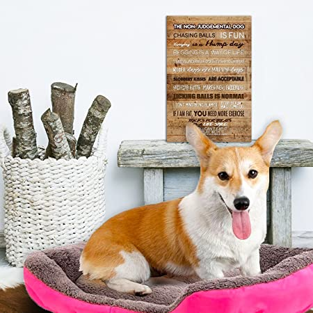 Rustic Style Dog Wall Art Poster with Funny Positive Loving