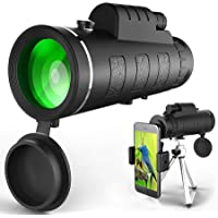 Monocular Telescope, 40X60 High Power Telescope, Dual Focus Monocular Scopes- Waterproof, BAK4 Prism Lens with Phone Clip&Tripod for Bird Watching Hunting Hiking