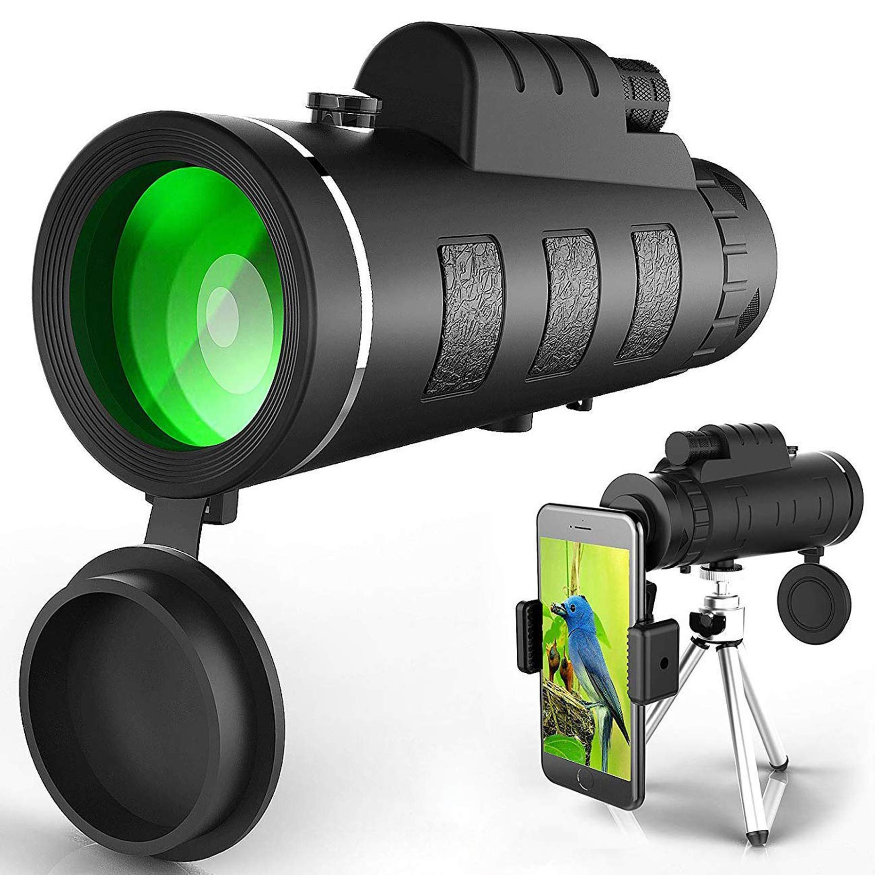 Monocular Telescope, Waterproof Monoculars with Phone Clip, Prism Monocular for Bird Watching/Hunting/Camping/Travel