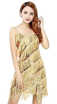 Bellyqueen Damen Tanzkleid Pailletten Dancewear Ein Stück Lateinkleid Quaste Rumbakleid Cha Cha Tanzkleidung Party Wear