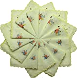 Q.T. Bamboo Women's Cotton Handkerchiefs 12 Pack Vintage Inspired Floral Design
