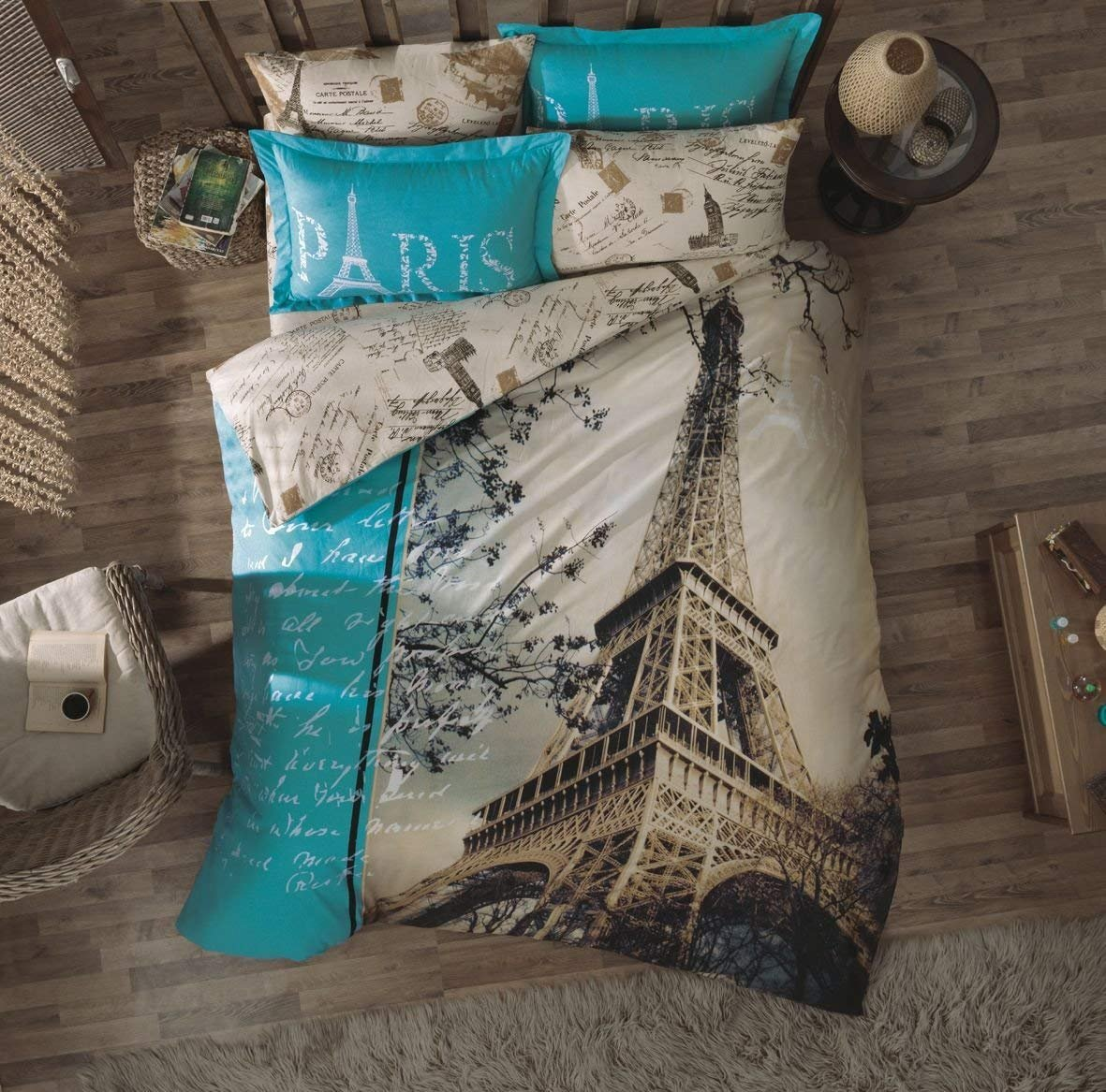 4 Pieces - Paris Viaje Love Eiffel Tower Print Theme Cotton Bedding Duvet Cover Sets Bed, Blue, White, Brown (Twin)