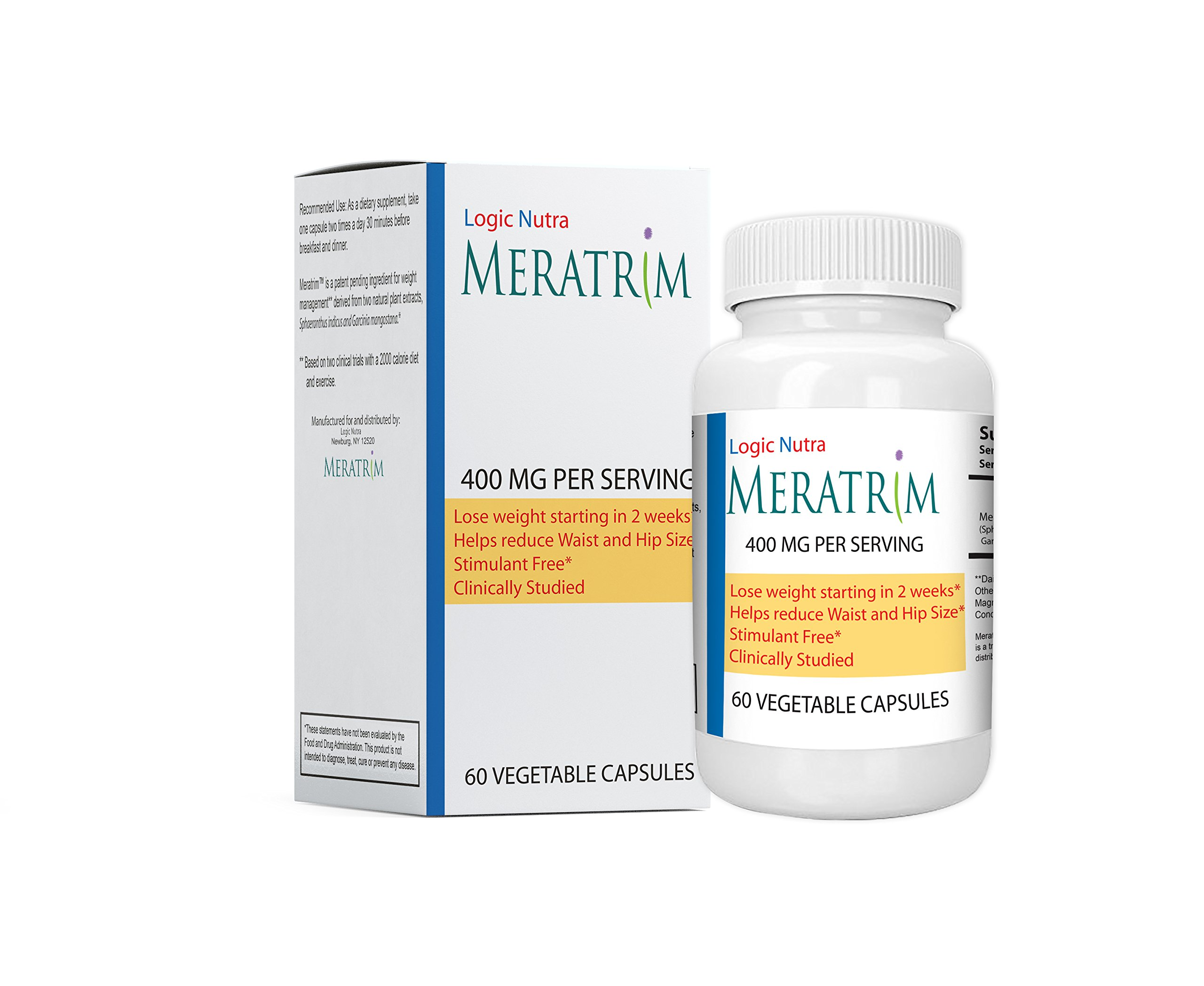 Meratrim® 400 mg 60 Fruit and flower Vegetarian Capsules Pure Weight Loss Slimming Formula 800mg Daily, Stimulant Free