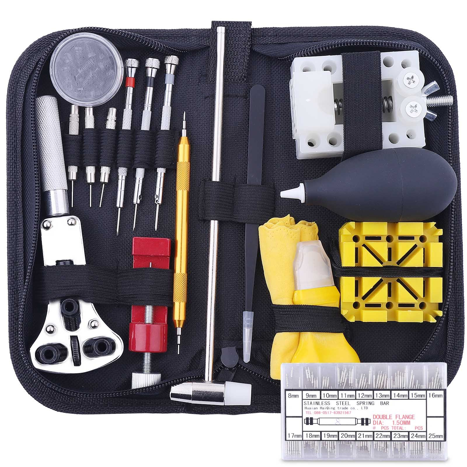 178PCS Watch Repair Tool Kit, Professional Watch Band Link Pin Tool Set with Carrying Case