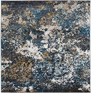 Persian-Rugs 6490 Turquoise 6 x 9 Abstract Modern Area Rug