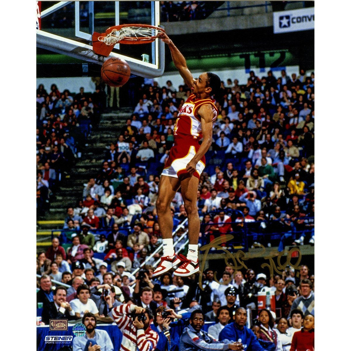 Spud Webb Signed Slam Dunk Contest 8x10 Signed in Gold at