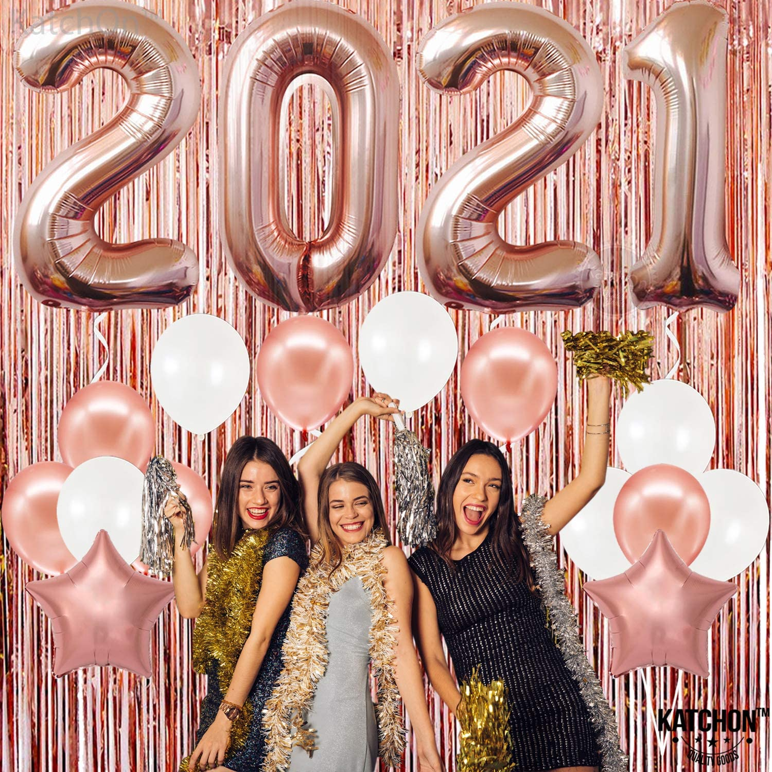 Amazon Com Rose Gold 2021 Balloons For New Years Eve Rose Gold Metallic Foil Fringe New Year Backdrop Nye 2021 Rose Gold Star Balloons New Years Eve Party Supplies 2021