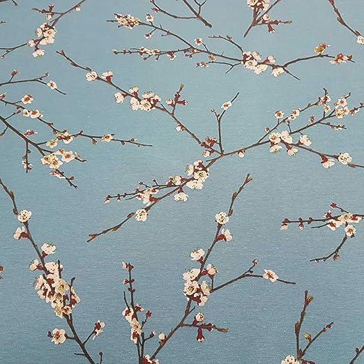 Stoff-Kollektion Tela de algodón Azul con Flores de Cerezo y Ramas japonesas: Amazon.es: Juguetes y juegos