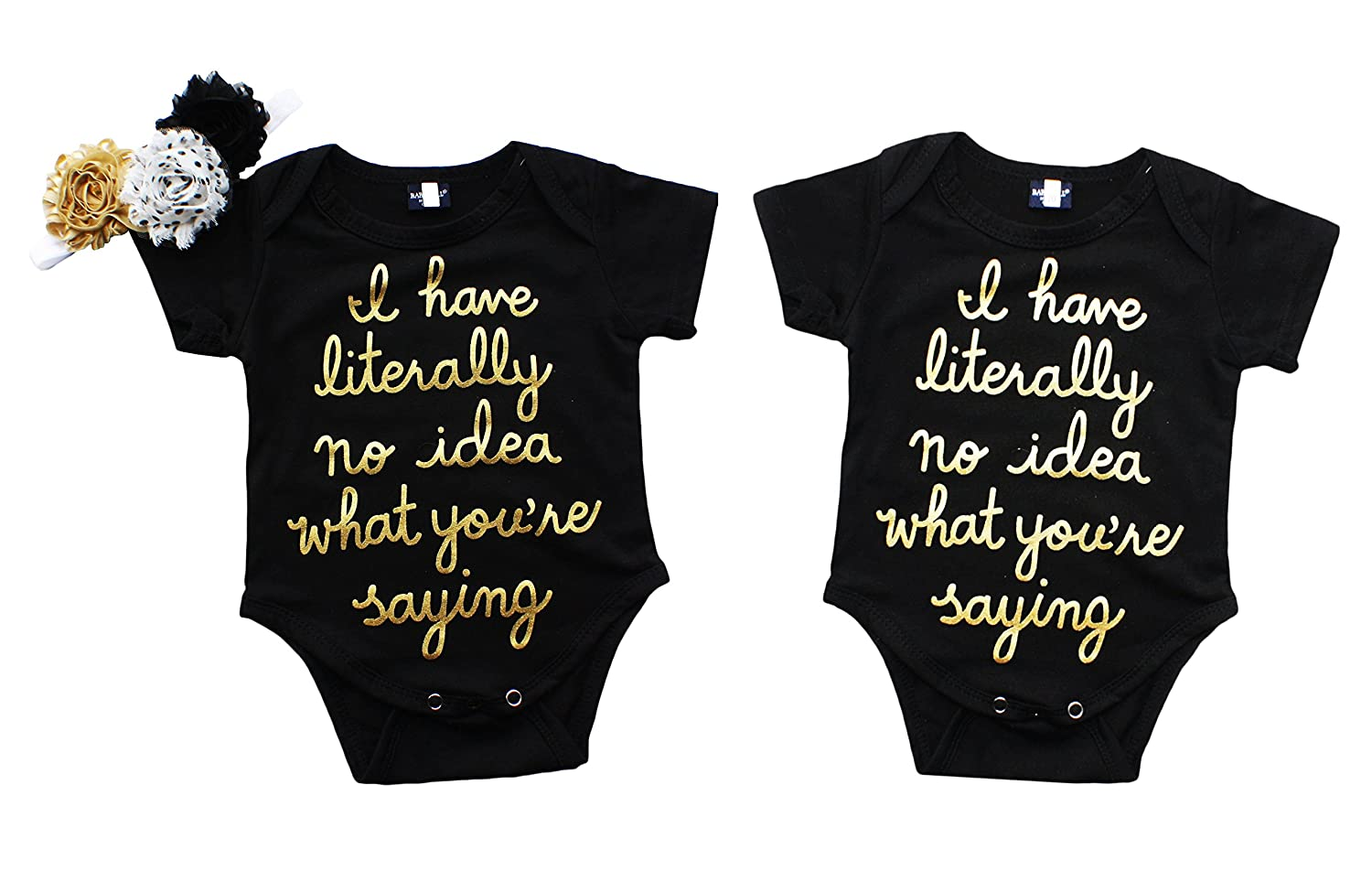 90385e690 Top7: Perfect Pairz Boy Girl Twin Funny Onesie - No Idea What You\'re Saying