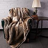 "BATTILO HOME Luxury Faux Fur Warm Elegant Cozy Throw Decorative Blanket Bed Sofa Blanket (Brown, 50""x60"")"