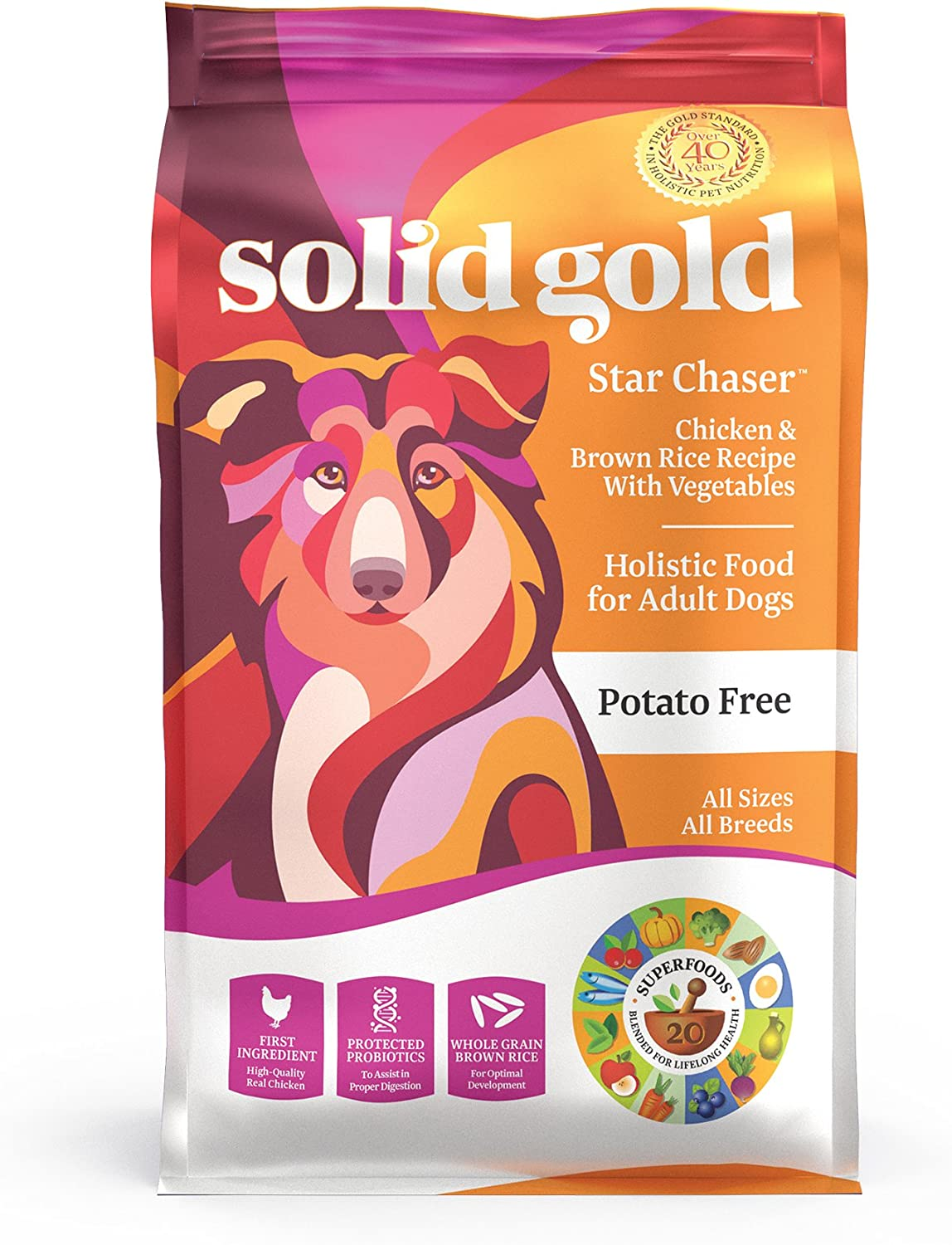 Solid Gold - Star Chaser - Chicken, Brown Rice with Vegetables - Natural Whole Grains - Holistic - Potato Free - Dog Food for All Life Stages