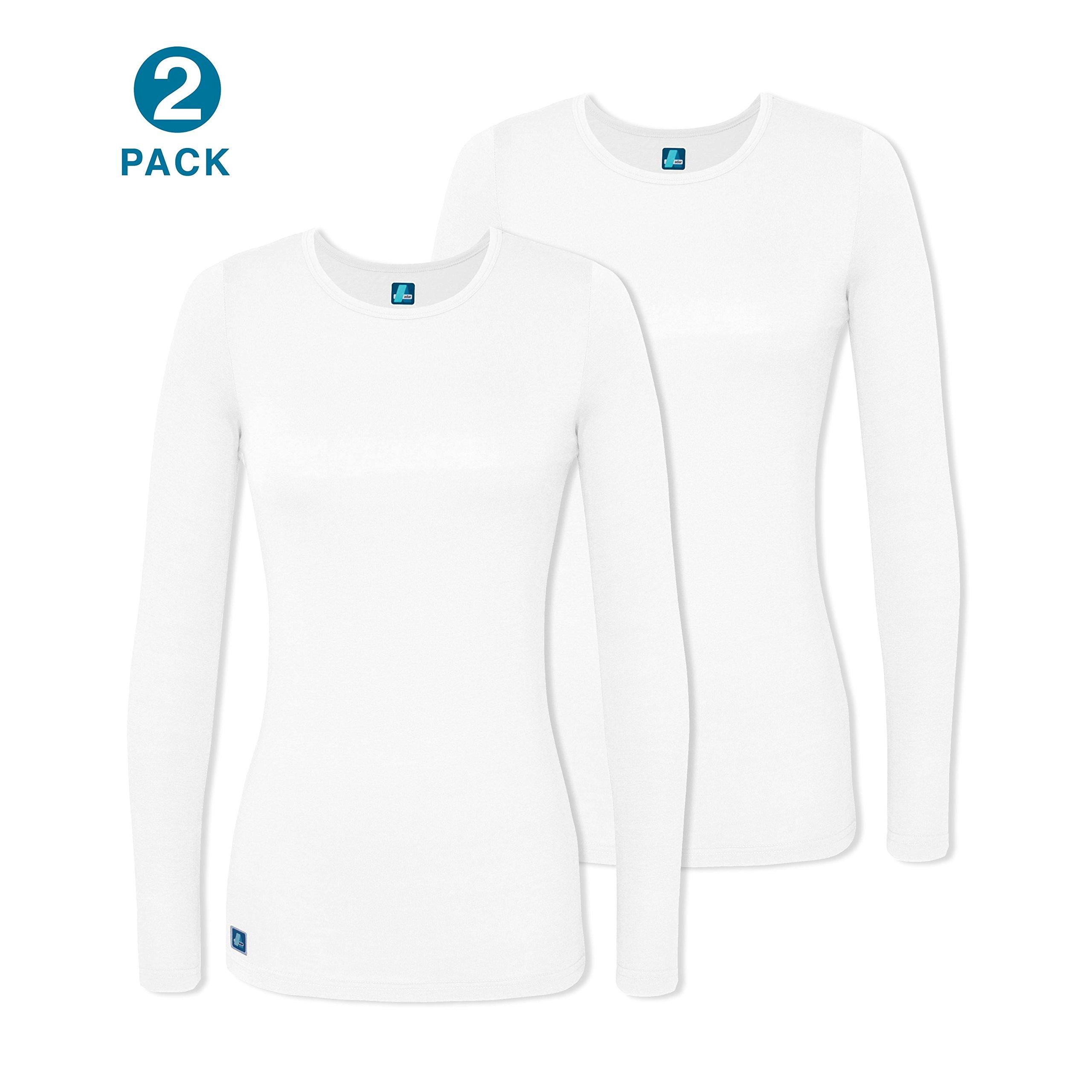 Adar 2 Pack Women's Comfort Long Sleeve T-Shirt/Underscrub Tee - 2902 - Wht - 3X