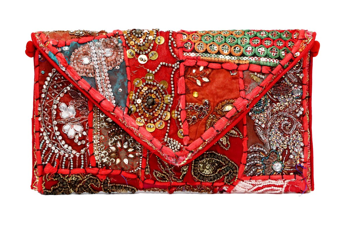 Brazeal Studio Women's Ethnic Embroidered Envelope Foldover Clutch by Brazeal Studio
