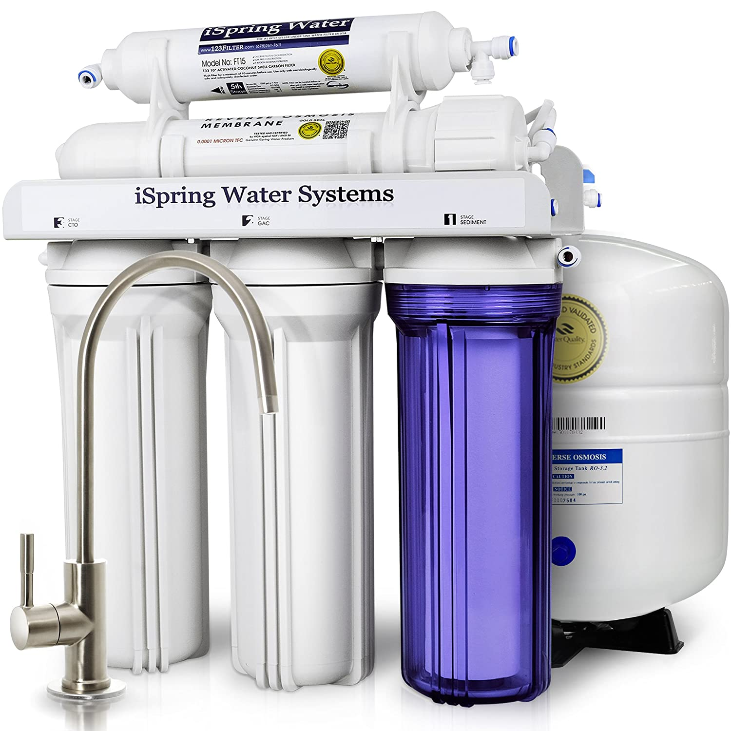 ISpring RCC7 WQA Gold Seal Certified 5 Stage Reverse Osmosis Drinking Water  Filter System   75 GPD   Undersink Water Filtration Systems   Amazon.com