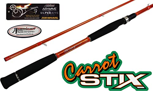 Carrot Stix Collapsible 2 Piece Spinning Wild Wild Orange Giant Size Salmon Steelhead Fishing Rod