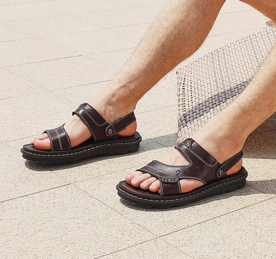 CAMEL CROWN Hombres Sandalias de Cuero Sandalias con Puntera Abierta Sandalias de Negocios Casual Zapatillas Blancas de Playa de Verano Zapatillas Flip Flop,Marrón 41EU