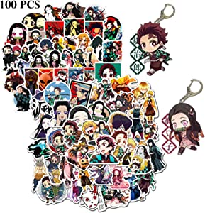 Kilmila Demon Slayer Stickers (100Pcs with 2 Pack Kimetsu no Yaiba Demon Slayer Keychain ).Gifts Demon Slayer Toys Anime Decal for Laptop Water Bottle Motorcycle