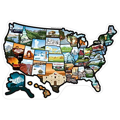 SEE MANY PLACES .com RV State Stickers United States Travel Camper Map RV Decals for Window, Door, or Wall ~ Includes 50 State Decal Stickers with Scenic Illustrations: Automotive