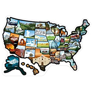 RV State Sticker Travel Map - United States Camper Map RV Decals for Window, Door, or Wall ~ Includes 50 State Decal Stickers with Scenic Illustrations See Many Places
