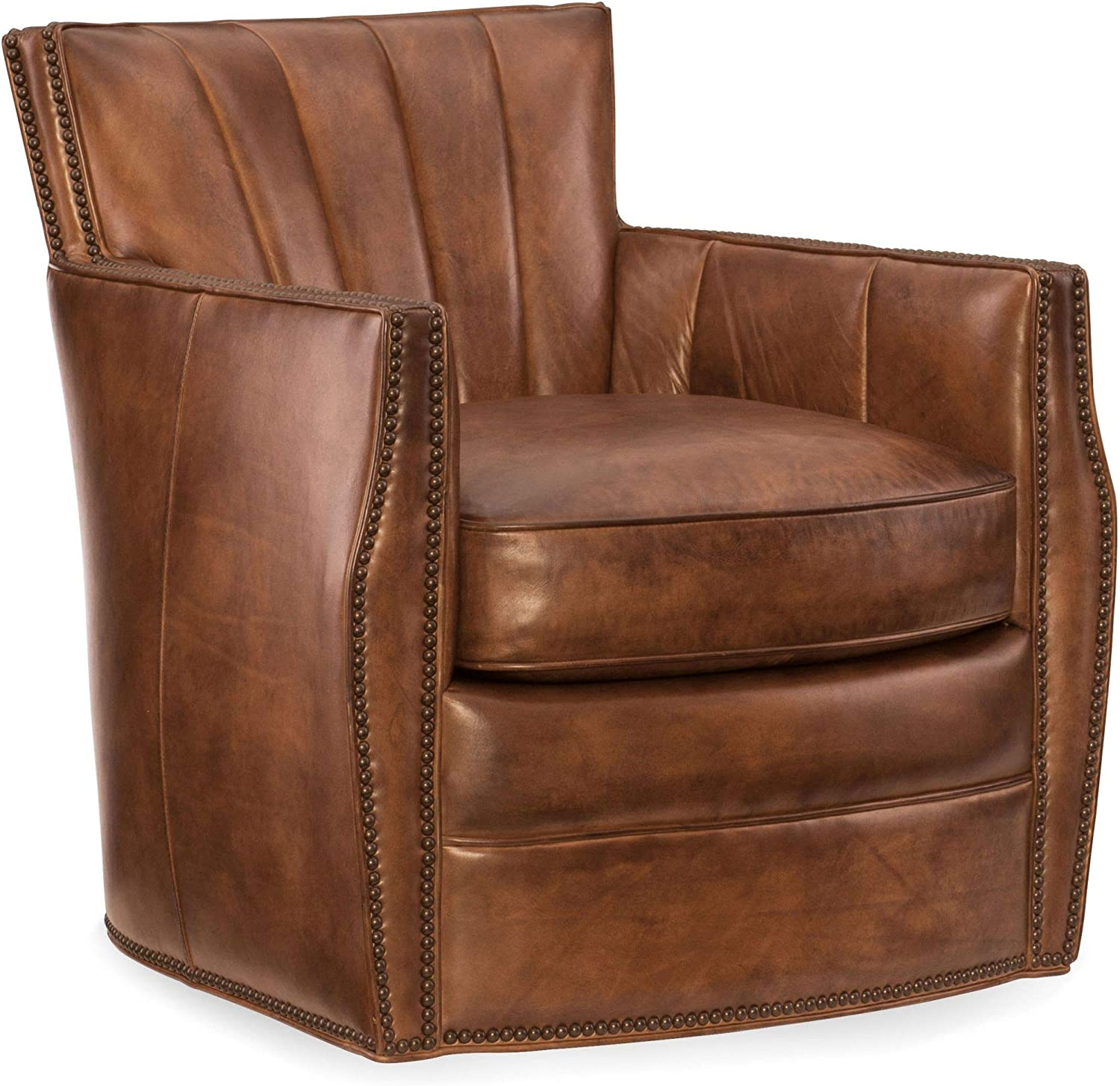 Hooker Furniture Carson Leather Swivel Club Chair in Spice Brown