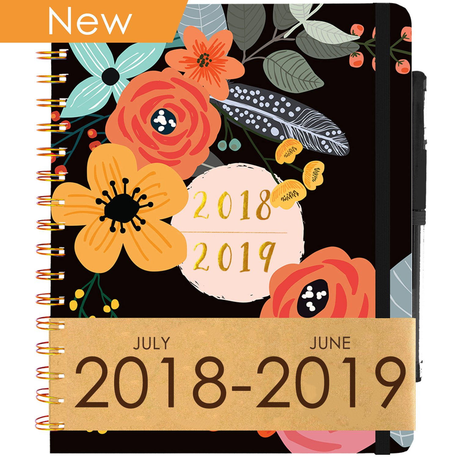Planner 2018-2019 Academic Year (Dated Jul 18' - Jun 19') ~ Purse-Size 9''x7.5'' ~ Daily, Weekly, Monthly Calendar Agenda ~ Boost Productivity for Moms, Teachers & Students ~ Hardcover Notebook
