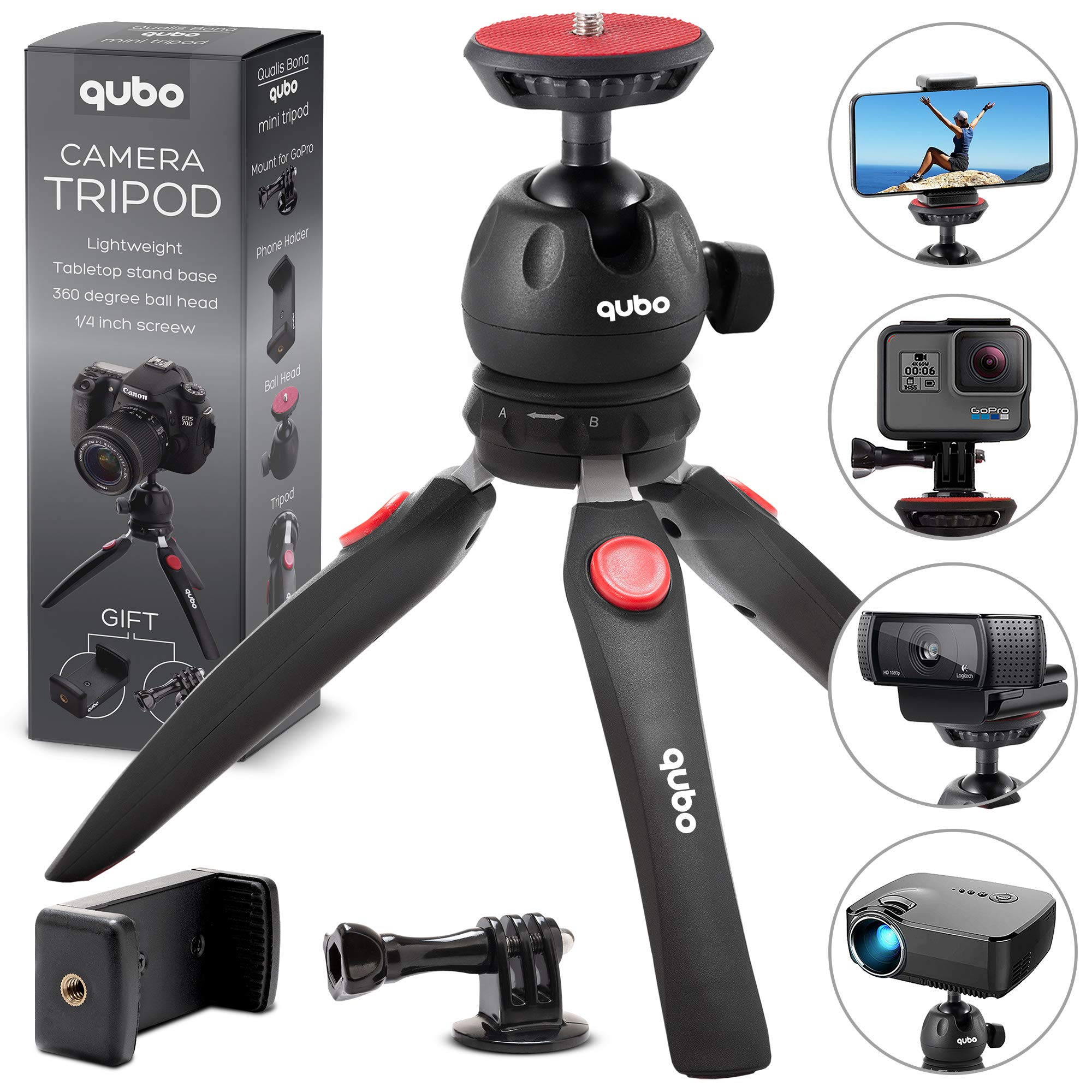 qubo Phone Tripod Camera Stand - Premium Mini Tripod Tabletop - Small Tripod Cell Phone Holder - Hand Tripod Compatible with iPhone Smartphones GoPro Webcam Video Projector Compact DSLRs by qu bo