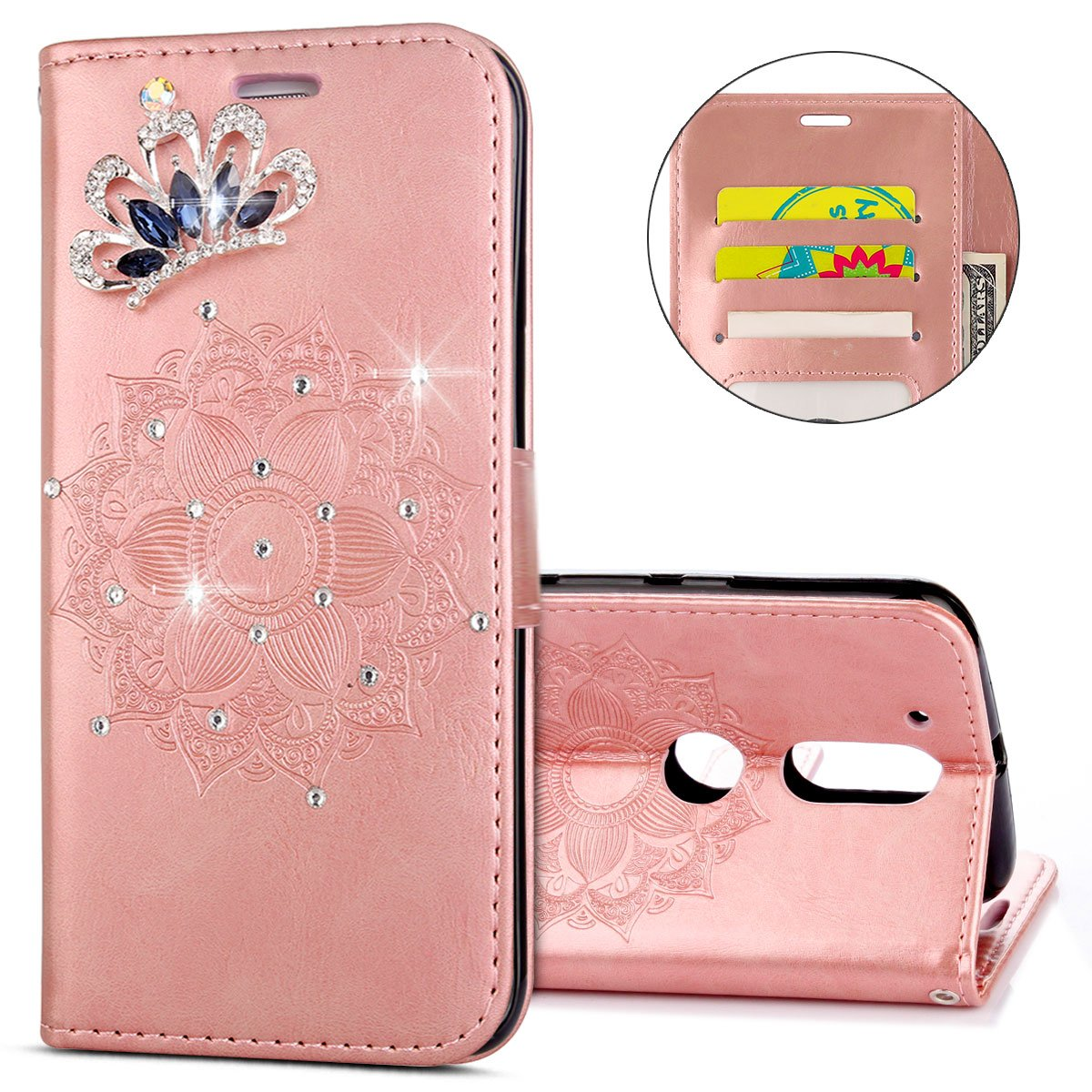 IKASEFU MOTO G4,MOTO G4 Plus Case,Clear Crown Rhinestone Diamond Bling Glitter Wallet with Card Holder Emboss Mandala Floral Pu Leather Magnetic Flip Protective Cover for MOTO G4/G4 Plus,Rosa Gold